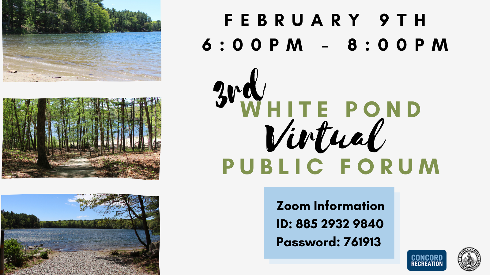 3rd white pond public forum February 9th 6pm-8pm